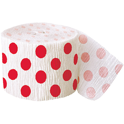 30' Crepe Paper Red Polka Dot Streamers