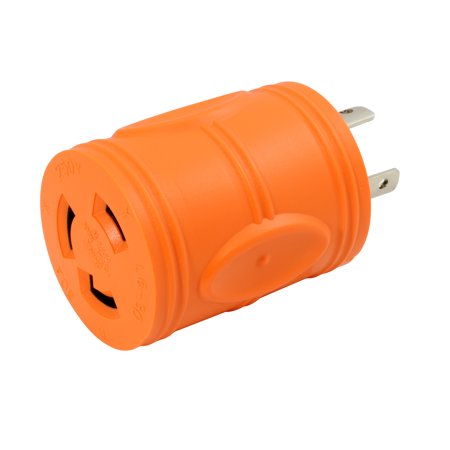 AC WORKS [ADL620L630] Plug Adapter L6-20P 20Amp 250Volt Male Plug to L6-30R 30Amp Female Connector - 240v 1 Output Connector