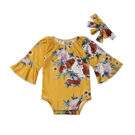 752881a8736f 2PCS Newborn Toddler Baby Girls Floral Romper Bodysuit Jumpsuit Outfits  0-24M