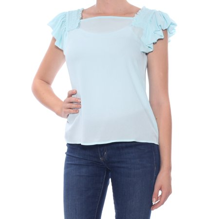 MAISON JULES Light Blue Ruffled Ruched Cap Sleeve Square Neck Top  Size: M - Light Blue Toms