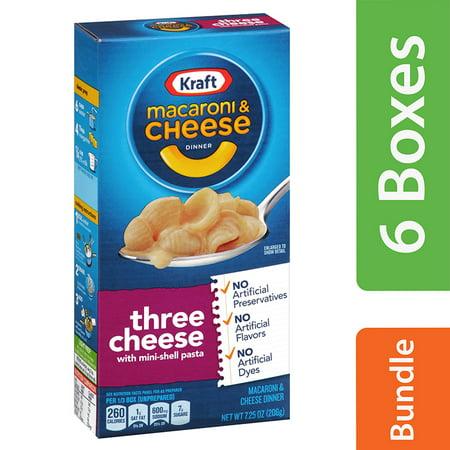 (6 Pack) Kraft Three Cheese Macaroni & Cheese Dinner, 7.25 oz Box