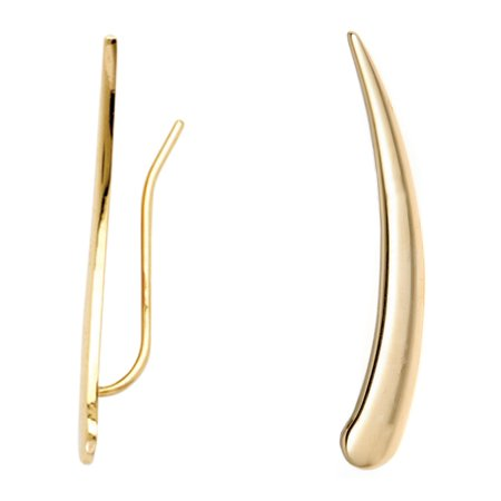 14k Yellow Gold Flat Curved Ear Climber Crawler Earrings 29 Mm 14k Yellow Gold Flat