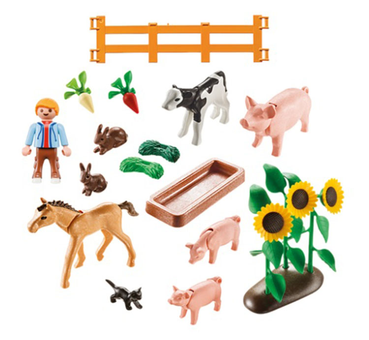 Kids Playmobil Farm Animal Play Set Pretend Toy Gift 41 Pc Pigs Rabbit New