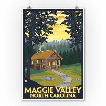 Maggie Valley, North Carolina - Cabin Scene - Lantern Press Poster (9x12 Art Print, Wall Decor Travel (Cabin Scene)