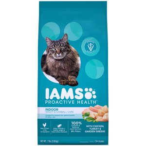 Iams Proactive Health Adult Indoor Weight And Hairball Care With Chicken, Turkey, And Garden Greens Dry Cat Food, 7 Lb
