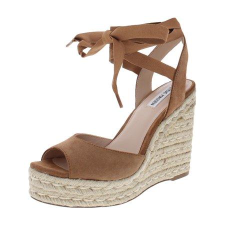 3c2e5ecfc6e Steve Madden Womens Secret Suede Ankle Wrap Wedge Sandals Tan 6 Medium (B,M)