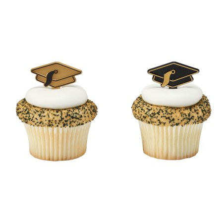 Gold and Black Graduation Cap Cupcake Picks - 24 - Masquerade Cupcake Picks
