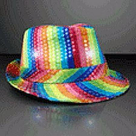 84fb6d479f453 LED Flashing Fedora Hat with Rainbow Sequins - Walmart.com