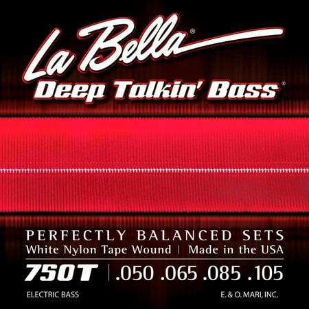 750T White Nylon Tapewound Bass Strings - Light, White Nylon Tape Wound strings By La Bella from USA