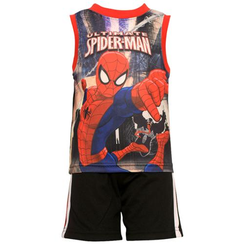 Andy Miller Baby Boys Red Black Ultimate Spiderman 2 Pc Shorts Set 12M