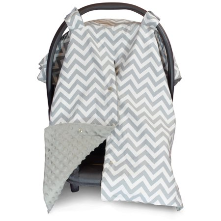 Kids N' Such 2 in 1 Car Seat Canopy Cover with Peekaboo Opening™ - Large Carseat Cover for Infant Carseats - Best for Baby Girls and Boys - Use as a Nursing Cover - Chevron with Grey Dot
