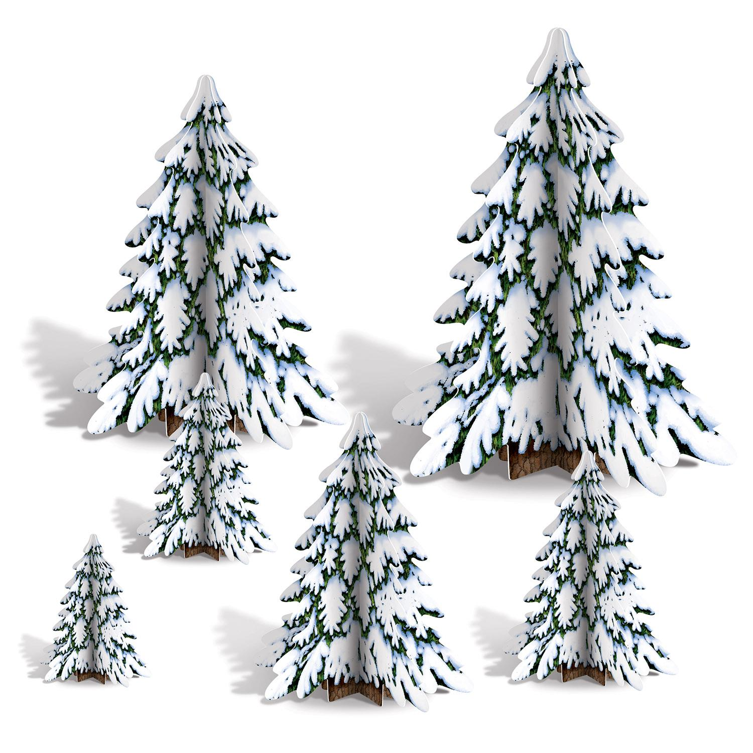 """Club Pack of 72 3-D Winter Pine Tree Centerpieces Christmas Decorations 4""""-12"""""""