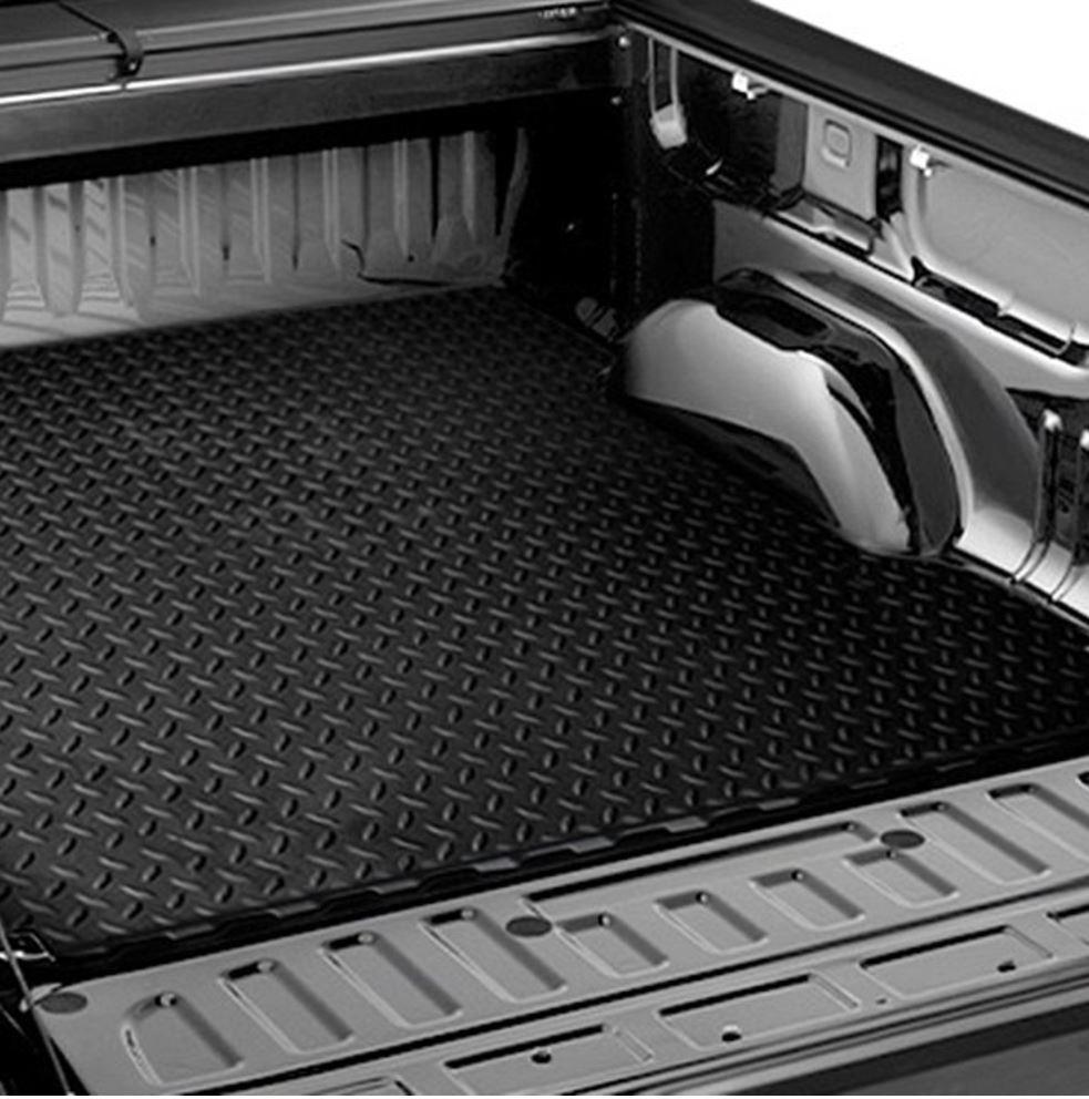 BLK RUBBER DIAMOND PLATE TRUCK BED TRUNK FLOOR MAT CARPET FOR 07-18 TUNDRA 6.5/'