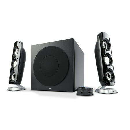 2 Piece Multimedia Speaker (Cyber Acoustics 92W Powerful 2.1 Speaker System with Subwoofer, for Multimedia Gaming, Movies, and Music)