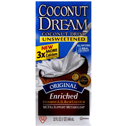 Coconut Dream Unsweetened Original Enriched Coconut Drink, 32 fl oz, (Pack of 12)