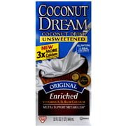 (Pack of 12) Coconut Dream Unsweetened Original Enriched Coconut Drink, 32 fl oz