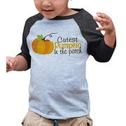 7 ate 9 Apparel Kid's Cutest Pumpkin in The Patch Thanksgiving Medium Grey Raglan