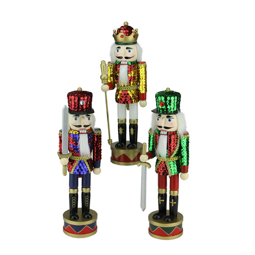 Northlight Seasonal 3 Piece Decorative Wooden Sequin Jacket Christmas Nutcracker Set