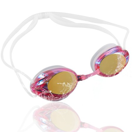 Swimming Goggles for Adults by Zodaca Mirrored Lens Swim Goggles Anti-Fog UV Protection No Leaking Triathlon Swimming Goggles with Free Storage Case for Adult Men Women Youth Unisex Mirror Pink White (Store For Adults)