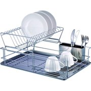 Dish Drying Rack, 2-Tier Dish Rack with Utensil Holder, Dish Drainer for Kitchen, Plated Chrome Dish Dryer (Heavy duty, Silver)