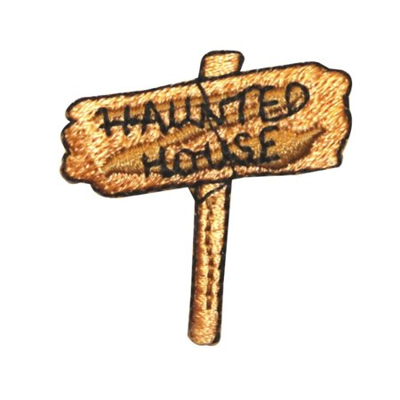ID 0868 Haunted House Sign Patch Halloween Post Embroidered Iron On Applique (Brand Halloween Posts)