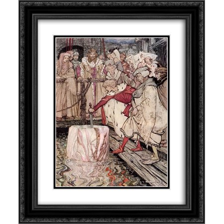 Arthur Rackham 2x Matted 20x24 Black Ornate Framed Art Print 'Galahad draws the sword from the floating (Archimedes From The Sword In The Stone)