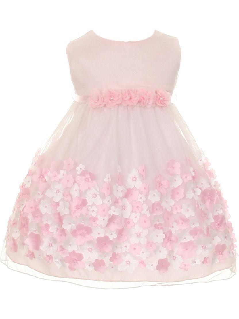 Kids Dream Baby Girls Pink Taffeta Flowers Sleeveless Dress 12M