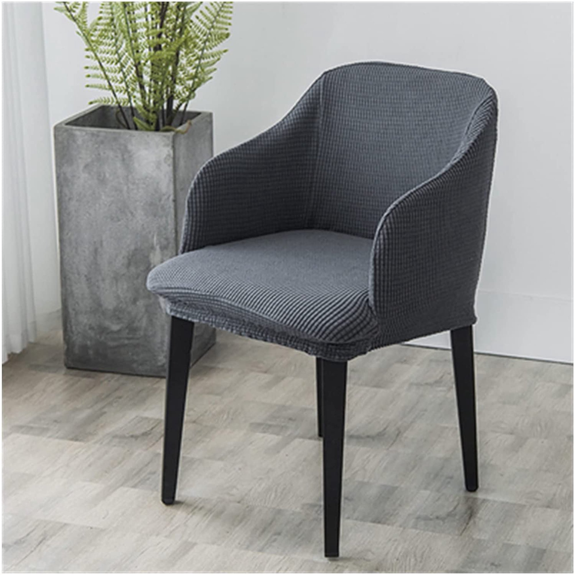Stretchy Armrests Dining Chair Covers, Curved Back Dining Room Chair Covers