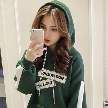 Girl Plus Velvet Sweater Female Thick Warm Hooded Loose Long-sleeved Shirt - image 7 de 9