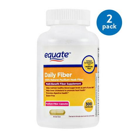 Worsted Fiber - (2 Pack) Equate Daily Multi-Benefit Psyllium Fiber Capsules, 300 Ct