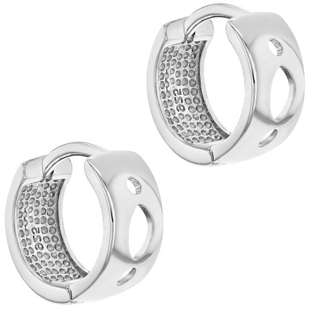 8a9e2d1ffd29d 925 Sterling Silver Perforated Wide Huggie Hoop Earrings for Ladies or Women