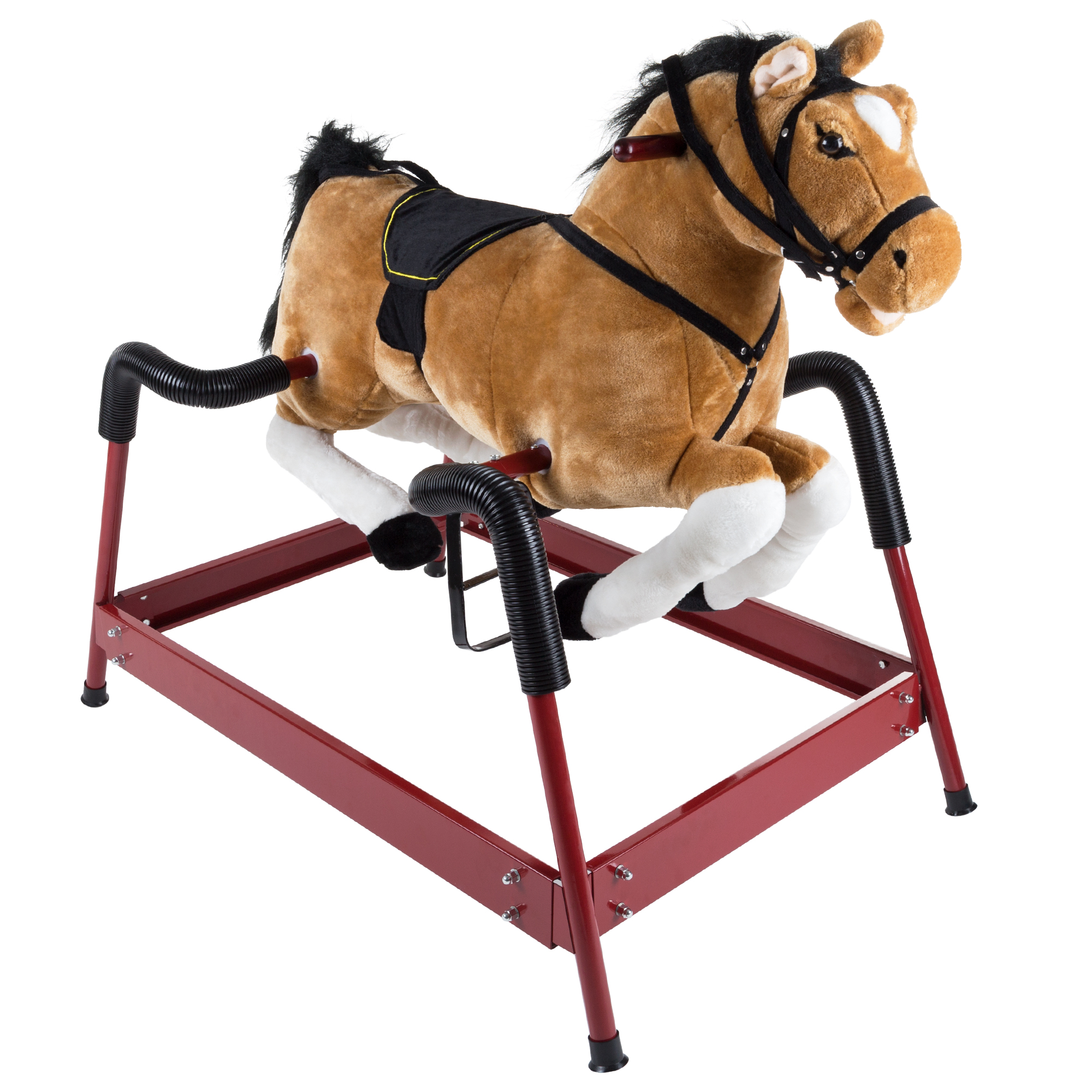 Spring Rocking Horse Plush Ride on Toy with Adjustable Foot Stirrups and Sounds for Toddlers to 5 Years Old by Happy Trails