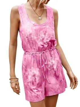 Women Sleeveless Pocket Drawstring Tie Dyed Print Jumpsuit