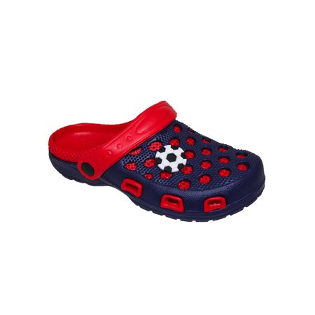 (Spring/Summer Toddler Boys' Fashion Slingback Sandal Clogs With Cute Appliqué Detail For Beach, Pool or Everyday Wear)