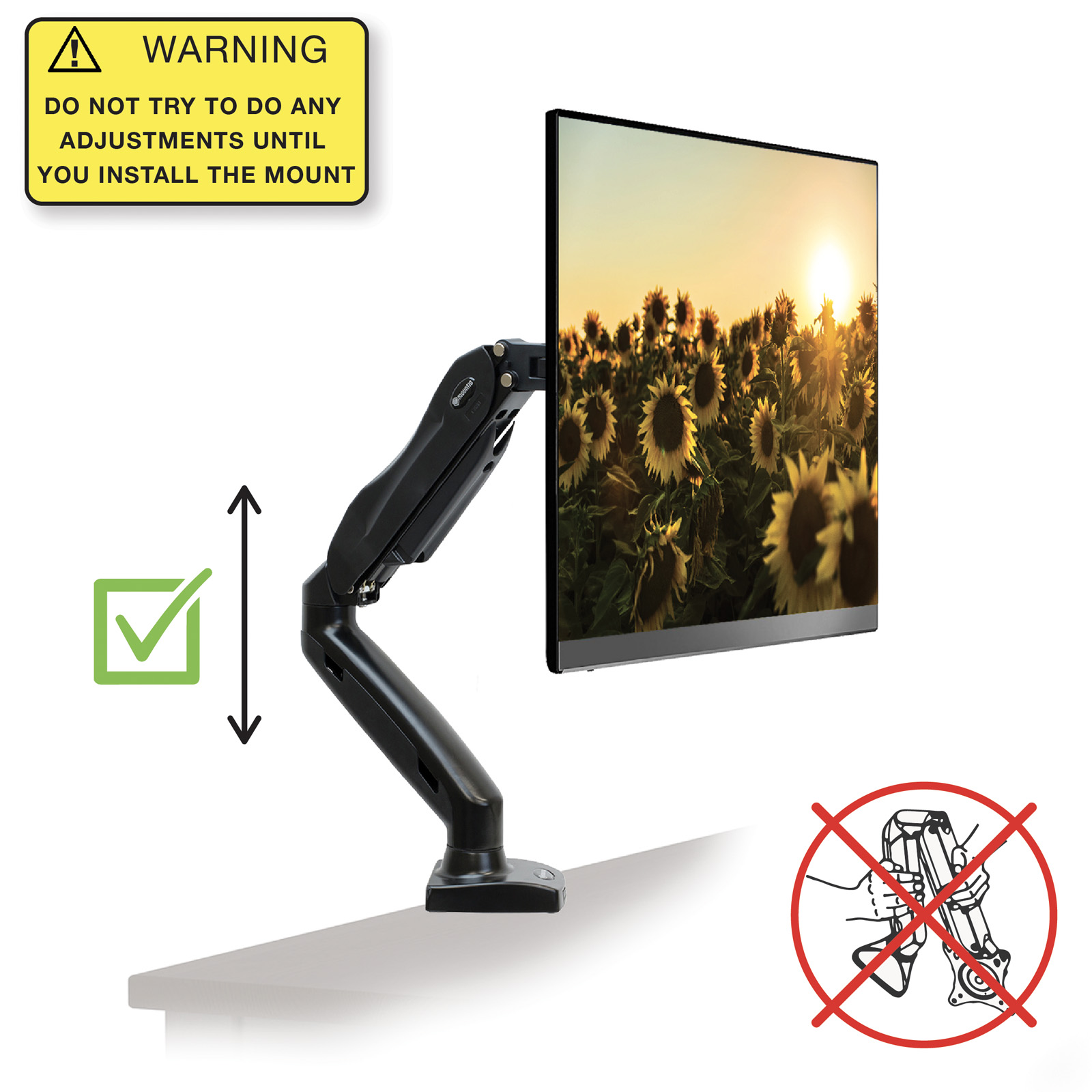 "Mountio Full Motion LCD Monitor Arm - Gas Spring Desk Mount Stand for  Screens up to 27"" - Walmart.com"