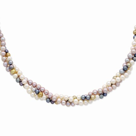 Roy Rose Jewelry 14K Yellow Gold 6-7mm Multicolor Freshwater Cultured Pearl Necklace ~ length: 18 inches