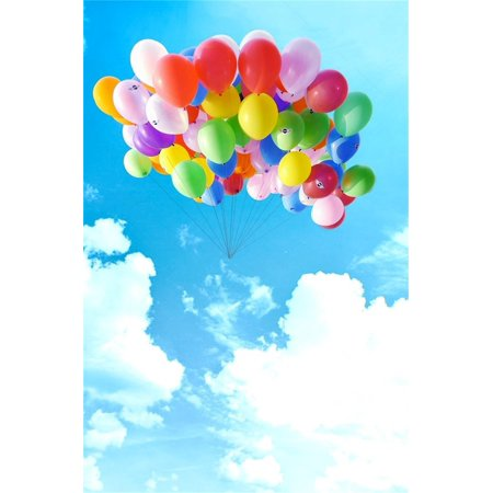 HelloDecor Polyster 5x7ft Photography Studio Backdrops Girl Toddler Photo Shoot Background Romance Sweet Colorful Balloons Blue Sky Clouds Adult Kid Artistic Portrait Digital Video Props Scene