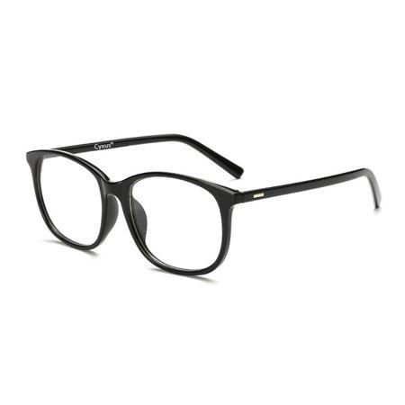 Cyxus Blue Light Blocking Transparent Lens Computer Glasses for Anti Eye Fatigue Men/Women Eyewear, Black Big - Black Circle Glasses