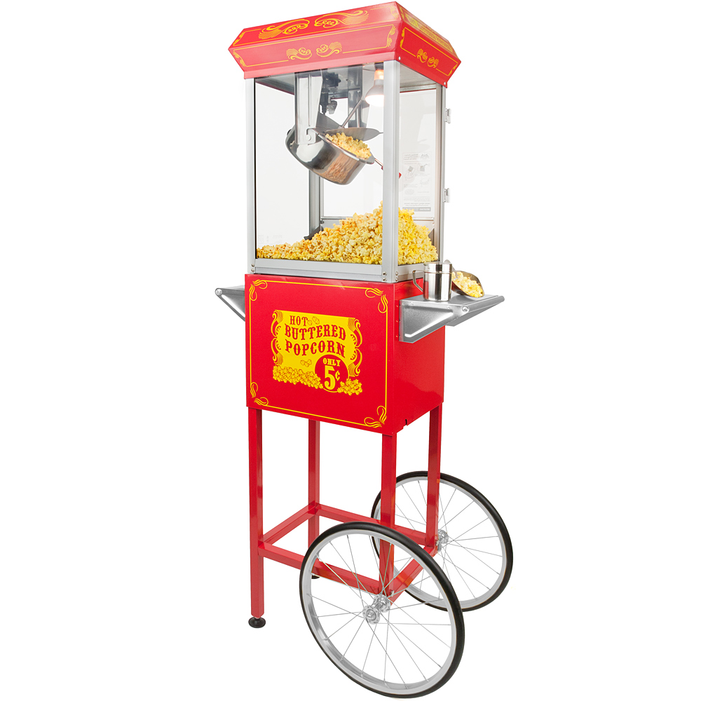 Full Size Carnival Style 8 oz Popcorn Maker Machine with Cart, Red and Silver