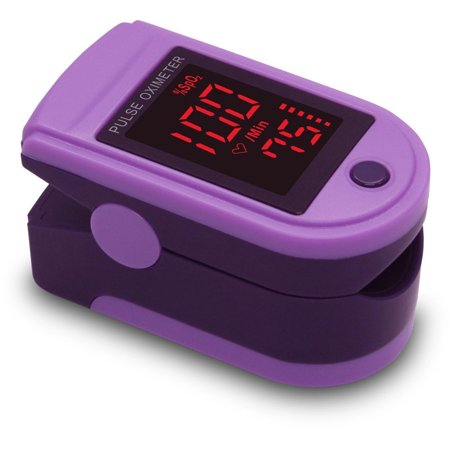 Zacurate Pro Series 500Dl Fingertip Pulse Oximeter Blood Oxygen Saturation Monitor With Silicon Cover  Lanyard And Batteries  Purple