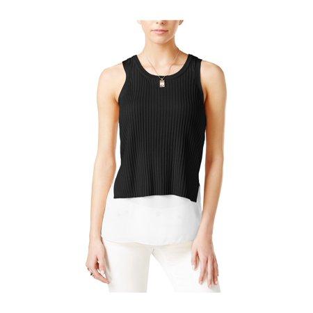 BAR III Womens Black Layered Look Sleeveless Jewel Neck Sweater  Size: M