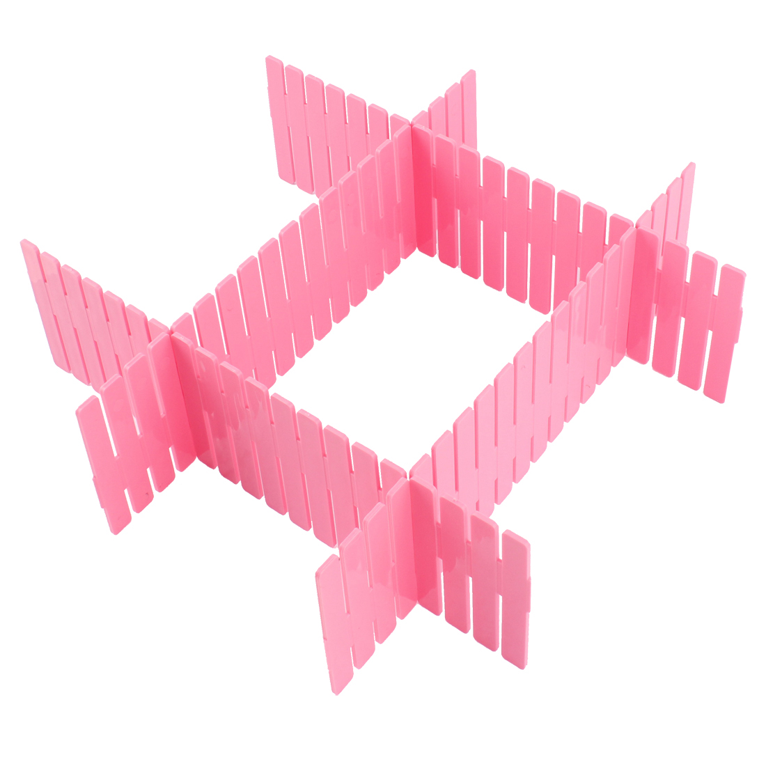 Home Storage Plastic Drawer Closet Grid Divider Organizer Container 4pcs Pink