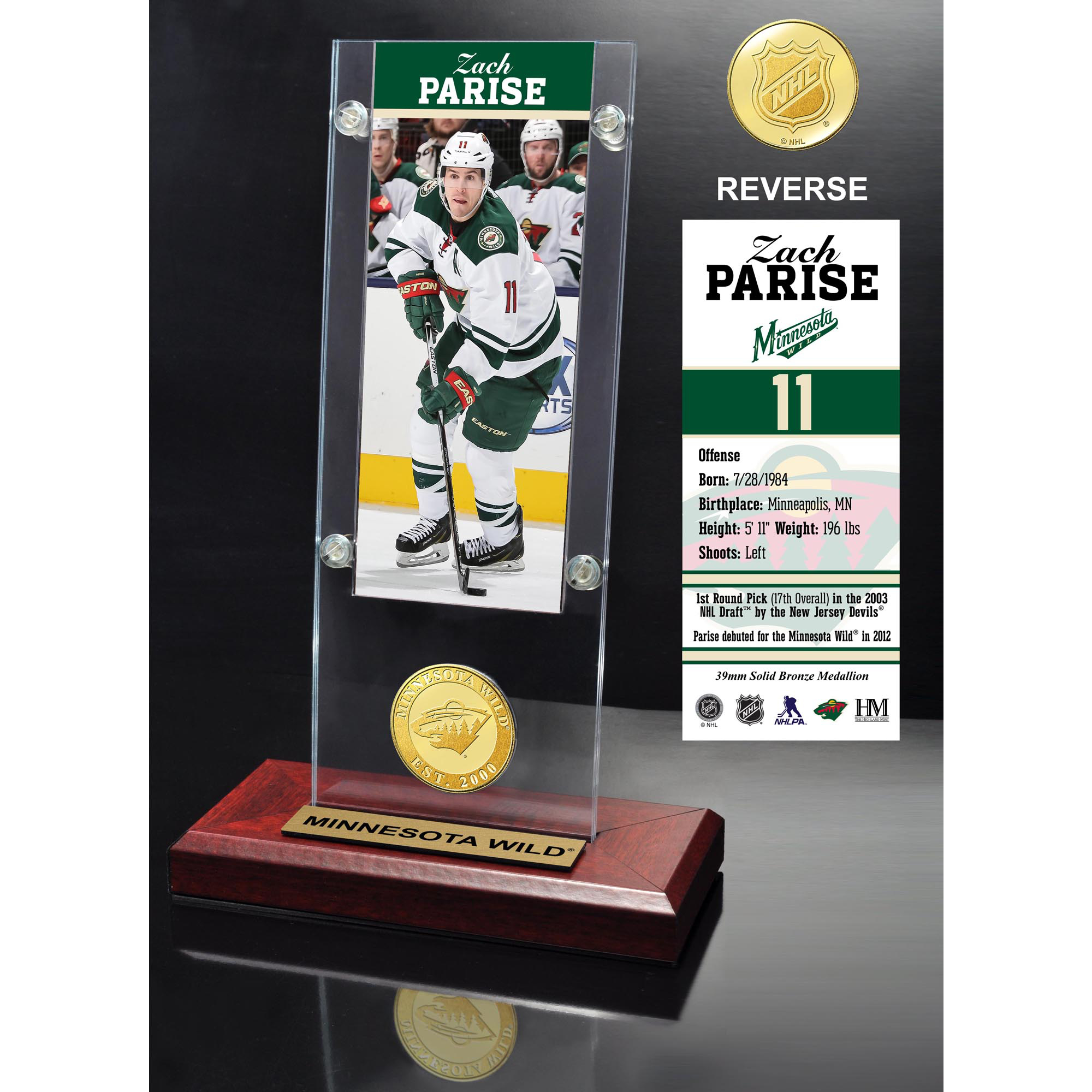 Zach Parise Minnesota Wild Highland Mint Player Ticket Acrylic - No Size