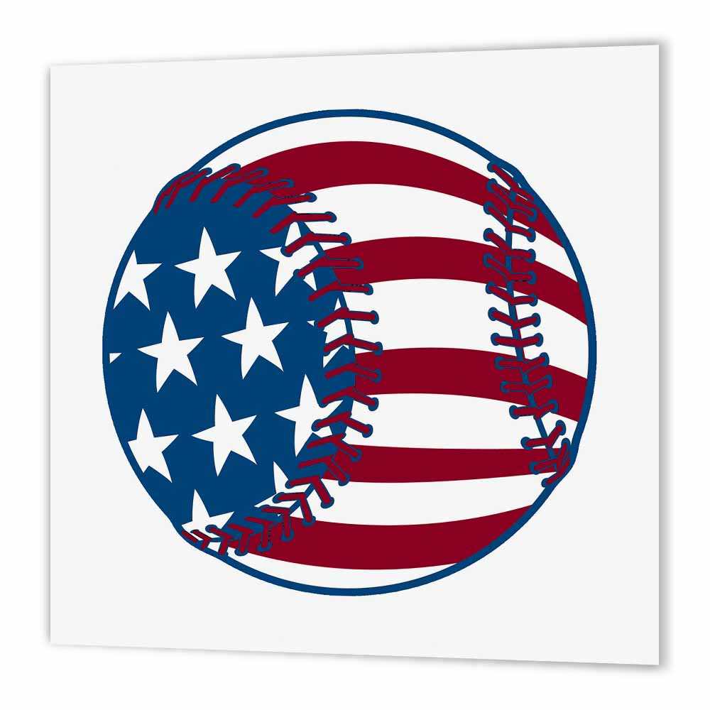 3dRose USA Stars and Stripes Baseball American Sports Design, Iron On Heat Transfer, 6 by 6-inch, For White Material