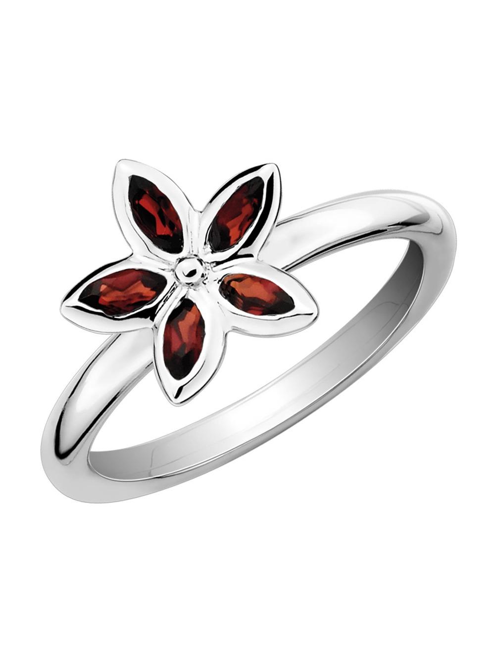 Garnet Flower Ring 1/3 Carat (ctw) in Sterling Silver