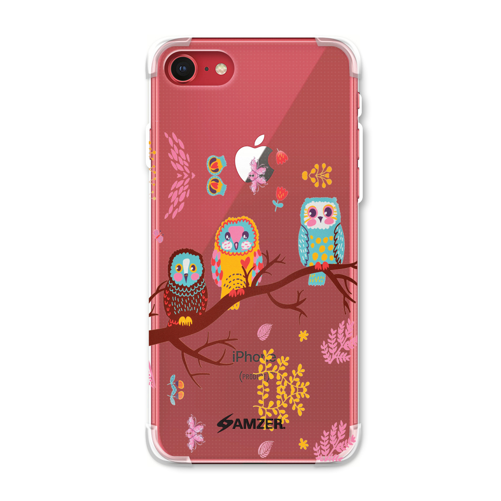 iPhone 8 Case - Owls On Branch, Premium Handcrafted Printed Designer Snap On Case Shock Absorption Reinforced Corners TPU Bumper Cushion Case Cover for iPhone 8