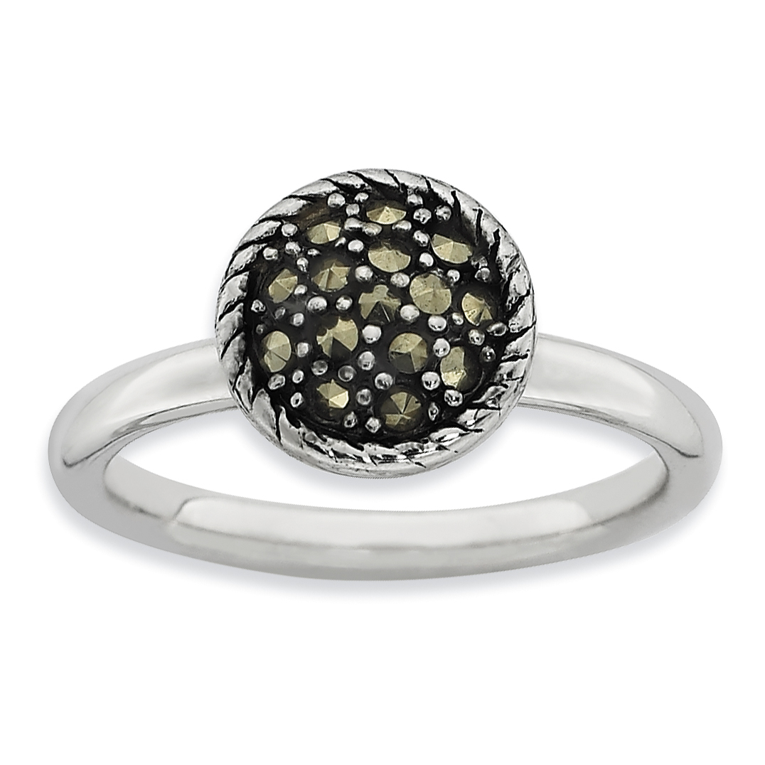 Roy Rose Jewelry Sterling Silver Stackable Expressions Marcasite Ring ~ Size 10