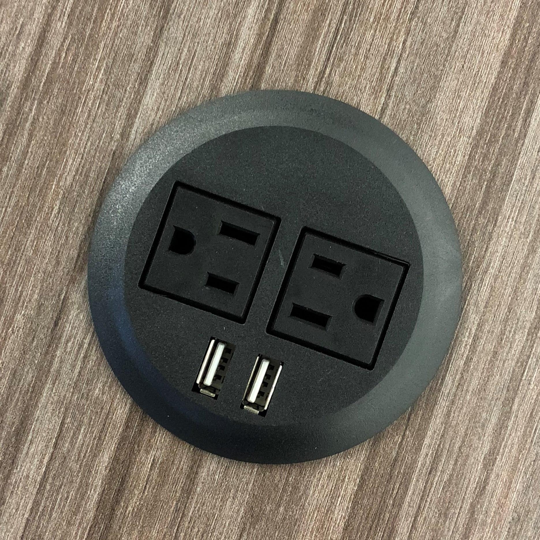 "PWR-Plug Power Grommet for Desk Office Furniture Fits 3"" Inch Standard Grommet Hole 2 AC Outlets 2 USB Charging Ports ETL Listed (Black)"