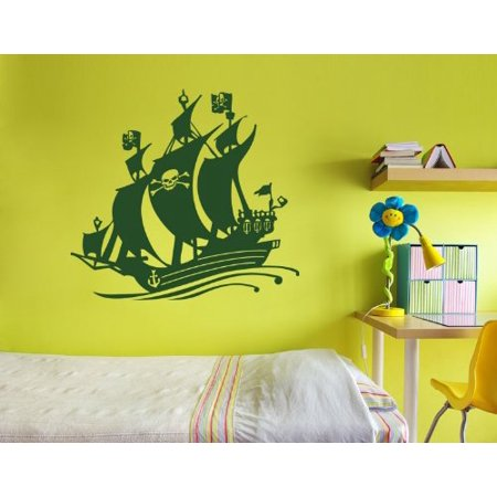 Black Bart Pirate Ship Wall Decal - Wall Sticker, Vinyl Wall Art, Home Decor, Wall Mural - 3729 - Silver, 47in x 44in