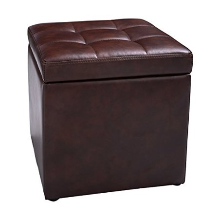 NEW Cube Ottoman Pouffe Storage Box Lounge Seat Footstools with Hinge Top Brown ()